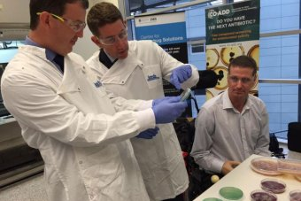 Prof Matthew Cooper, Mr Cameron Dick and Mr Matthew Ames in the CO-ADD lab